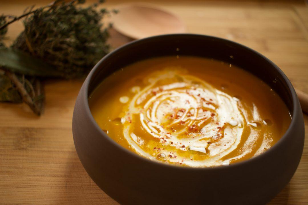Velouté de potiron, curry et curcuma
