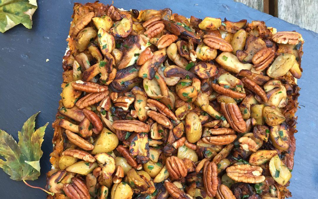 Tarte champignons, mimolette & noix de Pécan