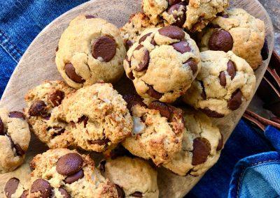 Cookies Avoine, banane, beurre de cacahuète et chocolat noir
